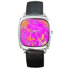 Spring Tropical Floral Palm Bird Square Metal Watch