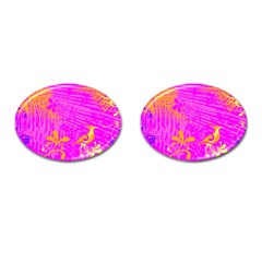 Spring Tropical Floral Palm Bird Cufflinks (Oval)