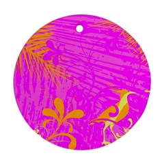 Spring Tropical Floral Palm Bird Round Ornament (Two Sides)