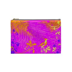 Spring Tropical Floral Palm Bird Cosmetic Bag (Medium)