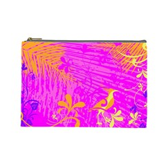 Spring Tropical Floral Palm Bird Cosmetic Bag (large)