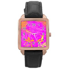 Spring Tropical Floral Palm Bird Rose Gold Leather Watch