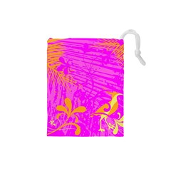 Spring Tropical Floral Palm Bird Drawstring Pouches (Small)
