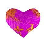 Spring Tropical Floral Palm Bird Standard 16  Premium Flano Heart Shape Cushions Front