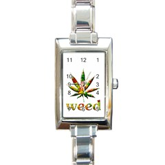 Marijuana Leaf Bright Graphic Rectangle Italian Charm Watch