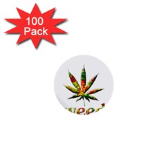 Marijuana Leaf Bright Graphic 1  Mini Buttons (100 pack)
