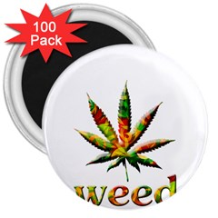 Marijuana Leaf Bright Graphic 3  Magnets (100 Pack)