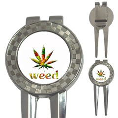 Marijuana Leaf Bright Graphic 3 In 1 Golf Divots