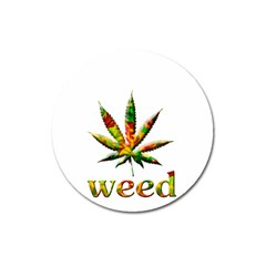 Marijuana Leaf Bright Graphic Magnet 3  (round)