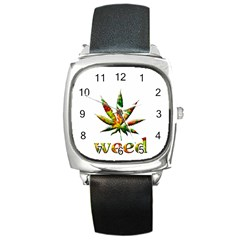 Marijuana Leaf Bright Graphic Square Metal Watch