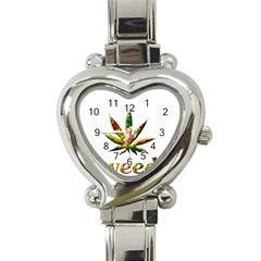 Marijuana Leaf Bright Graphic Heart Italian Charm Watch