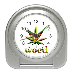 Marijuana Leaf Bright Graphic Travel Alarm Clocks