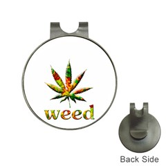 Marijuana Leaf Bright Graphic Hat Clips with Golf Markers