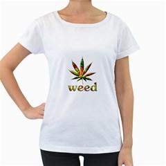 Marijuana Leaf Bright Graphic Women s Loose-Fit T-Shirt (White)