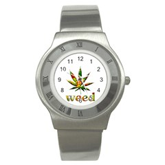 Marijuana Leaf Bright Graphic Stainless Steel Watch