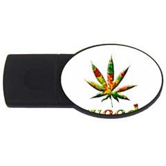 Marijuana Leaf Bright Graphic Usb Flash Drive Oval (4 Gb)