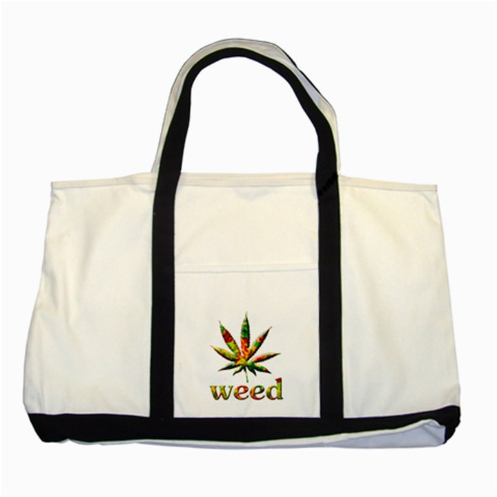 Marijuana Leaf Bright Graphic Two Tone Tote Bag