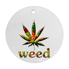 Marijuana Leaf Bright Graphic Round Ornament (two Sides)