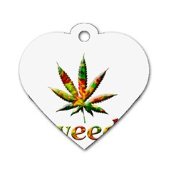 Marijuana Leaf Bright Graphic Dog Tag Heart (Two Sides)