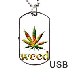 Marijuana Leaf Bright Graphic Dog Tag USB Flash (One Side)