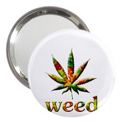Marijuana Leaf Bright Graphic 3  Handbag Mirrors