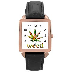 Marijuana Leaf Bright Graphic Rose Gold Leather Watch