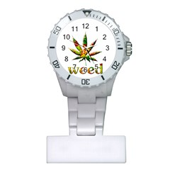 Marijuana Leaf Bright Graphic Plastic Nurses Watch