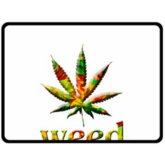 Marijuana Leaf Bright Graphic Double Sided Fleece Blanket (Large)