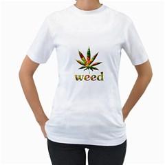 Marijuana Leaf Bright Graphic Women s T Shirt (white)