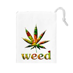 Marijuana Leaf Bright Graphic Drawstring Pouches (large)