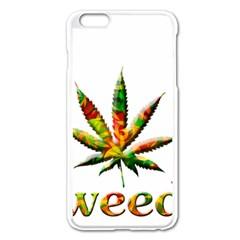 Marijuana Leaf Bright Graphic Apple iPhone 6 Plus/6S Plus Enamel White Case