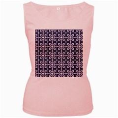 Leaves Horizontal Grey Urban Women s Pink Tank Top