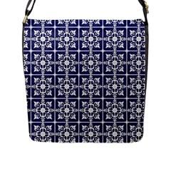 Leaves Horizontal Grey Urban Flap Messenger Bag (L)