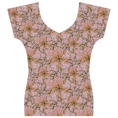 Nature Collage Print Women s V-Neck Cap Sleeve Top