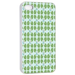 Leaf Flower Floral Green Apple iPhone 4/4s Seamless Case (White)