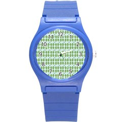 Leaf Flower Floral Green Round Plastic Sport Watch (s)