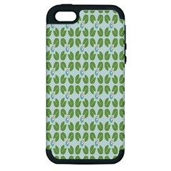 Leaf Flower Floral Green Apple iPhone 5 Hardshell Case (PC+Silicone)