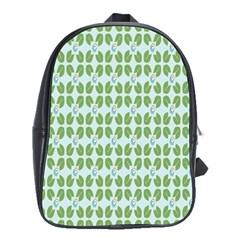 Leaf Flower Floral Green School Bags (XL)