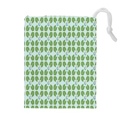 Leaf Flower Floral Green Drawstring Pouches (Extra Large)