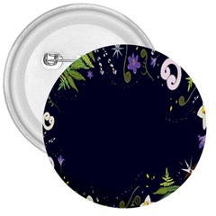 Spring Wind Flower Floral Leaf Star Purple Green Frame 3  Buttons