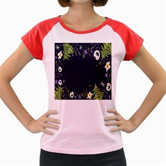 Spring Wind Flower Floral Leaf Star Purple Green Frame Women s Cap Sleeve T-Shirt