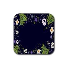 Spring Wind Flower Floral Leaf Star Purple Green Frame Rubber Square Coaster (4 pack)