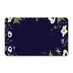 Spring Wind Flower Floral Leaf Star Purple Green Frame Magnet (Rectangular)