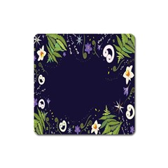 Spring Wind Flower Floral Leaf Star Purple Green Frame Square Magnet