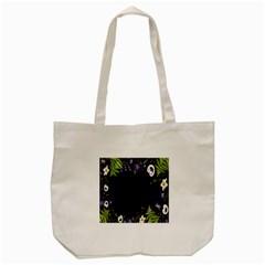 Spring Wind Flower Floral Leaf Star Purple Green Frame Tote Bag (Cream)