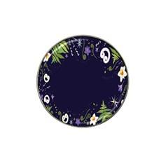 Spring Wind Flower Floral Leaf Star Purple Green Frame Hat Clip Ball Marker (10 pack)