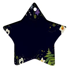 Spring Wind Flower Floral Leaf Star Purple Green Frame Star Ornament (Two Sides)