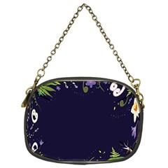 Spring Wind Flower Floral Leaf Star Purple Green Frame Chain Purses (One Side)