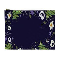Spring Wind Flower Floral Leaf Star Purple Green Frame Cosmetic Bag (XL)