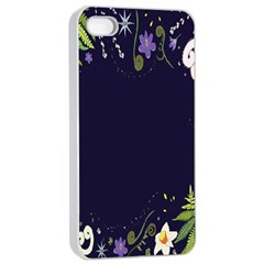 Spring Wind Flower Floral Leaf Star Purple Green Frame Apple iPhone 4/4s Seamless Case (White)